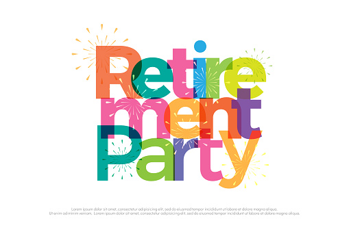 retirement party colorful with fireworks on white background. retirement party icon design for banner, card, t shirt or printing. vector illustrator