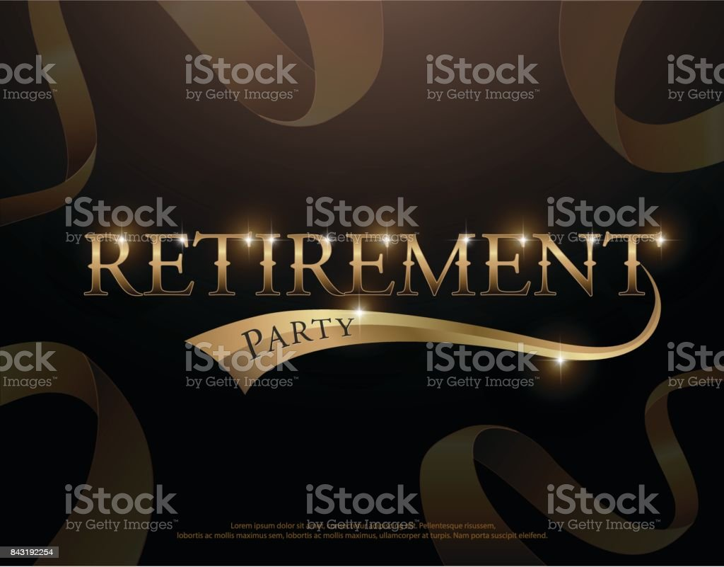 retirement party elegant logo design with golden ribbon decorated