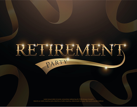 Retirement Party Elegant Logo Design With Golden Ribbon Decorated Retirement Party Logotype Template For Logo Banner Template Vector Illustrator Stock Illustration - Download Image Now