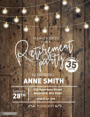 istock Retirement party invitation design template on wooden background with string lights 1200002231