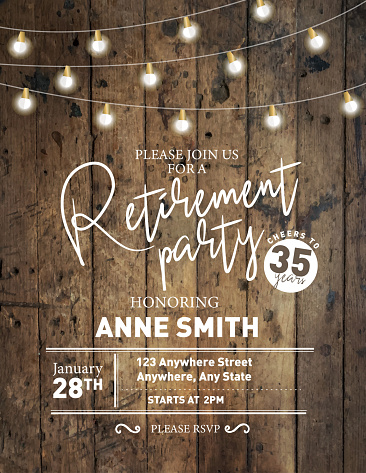 Vector illustration of a Retirement party invitation design template on wooden background with string lights. Easy to edit.