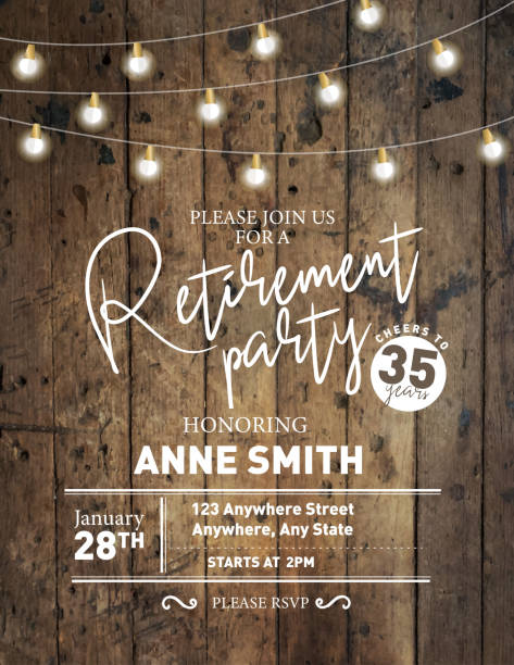 Retirement party invitation design template on wooden background with string lights vector art illustration