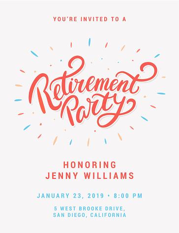 Retirement party. Vector invitation.