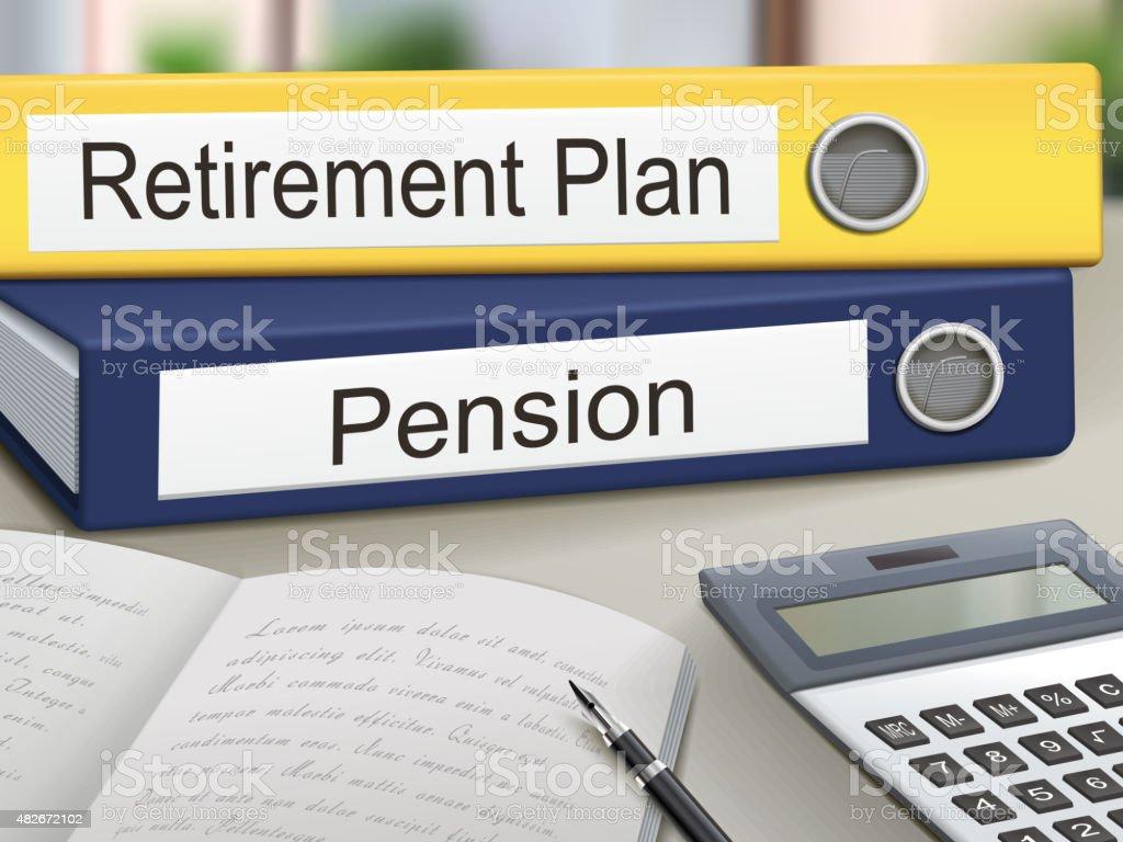 retirement plan and pension binders vector art illustration
