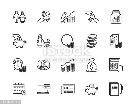 Retirement plan flat line icons set. Pension payment, money deposit, investment fund balance sheet inheritance vector illustration. Outline signs senior savings. Pixel perfect 64x64. Editable Strokes.