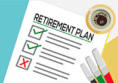 Retirement Plan or planning icon concept.