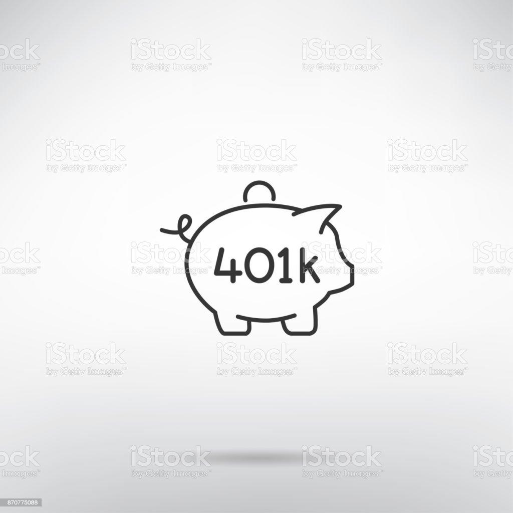 401K retirement plan piggy bank thin line icon vector art illustration