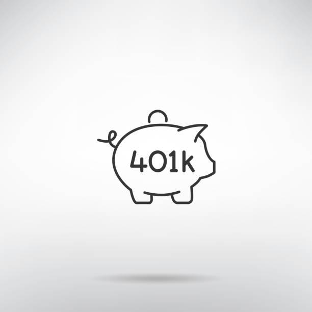 401K retirement plan piggy bank thin line icon 401K retirement plan piggy bank thin line icon 401k stock illustrations