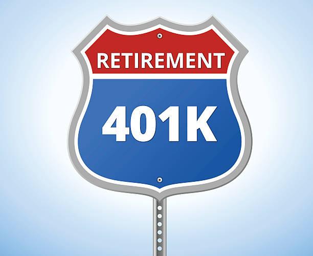 401K Retirement Route Sign EPS 10 and JPEG 401k stock illustrations