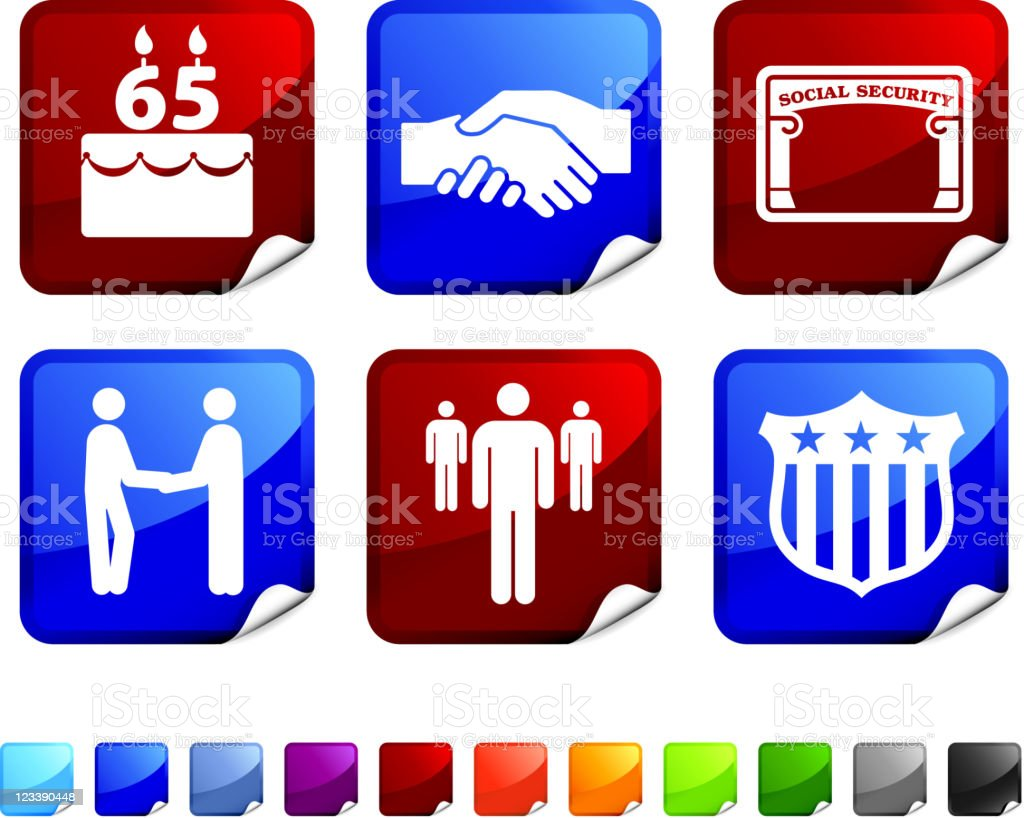 retirement royalty free vector icon set stickers royalty-free stock vector art
