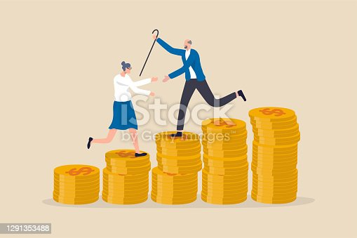 istock Retirement saving or investment pension fund, planning for wealth and expense for living after retire concept, happy rich elderly couple old man and woman walking on stack of growth money coins saving 1291353488