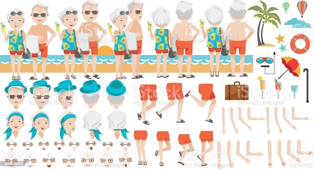 Retirement Travel vector art illustration