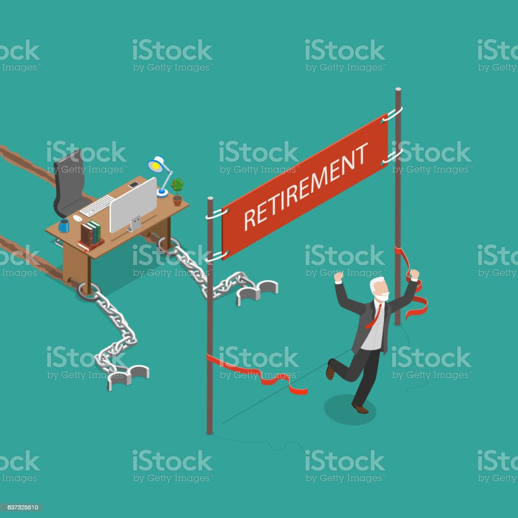 Retirement vector flat isometric illustration. - arte vettoriale royalty-free di Adulto
