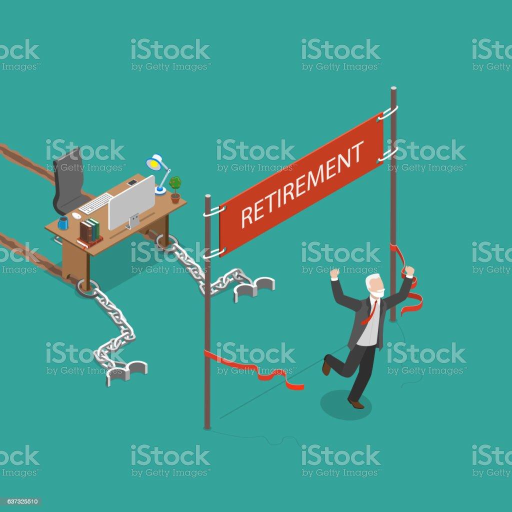 Retirement vector flat isometric illustration. vector art illustration