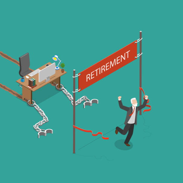 Retirement vector flat isometric illustration. Retirement vector flat isometric illustration. Man was chained to his work desk and was pulling it many years. Finally he has reached his retirement and he is very happy. one senior man only illustrations stock illustrations