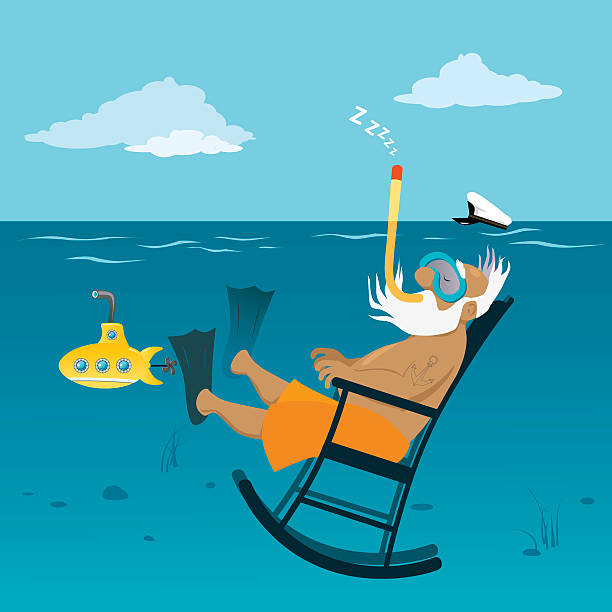 retirement - old man in rocking chair cartoons stock illustrations, clip art, cartoons, & icons