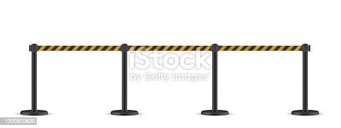 Retractable belt stanchion. Portable ribbon barrier. Striped black-yellow fencing tape. Hazard warning. Black stanchion.
