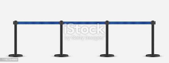 Retractable belt stanchion set. Portable ribbon barrier.   Blue striped hazard fencing tape. Dark matte stanchion