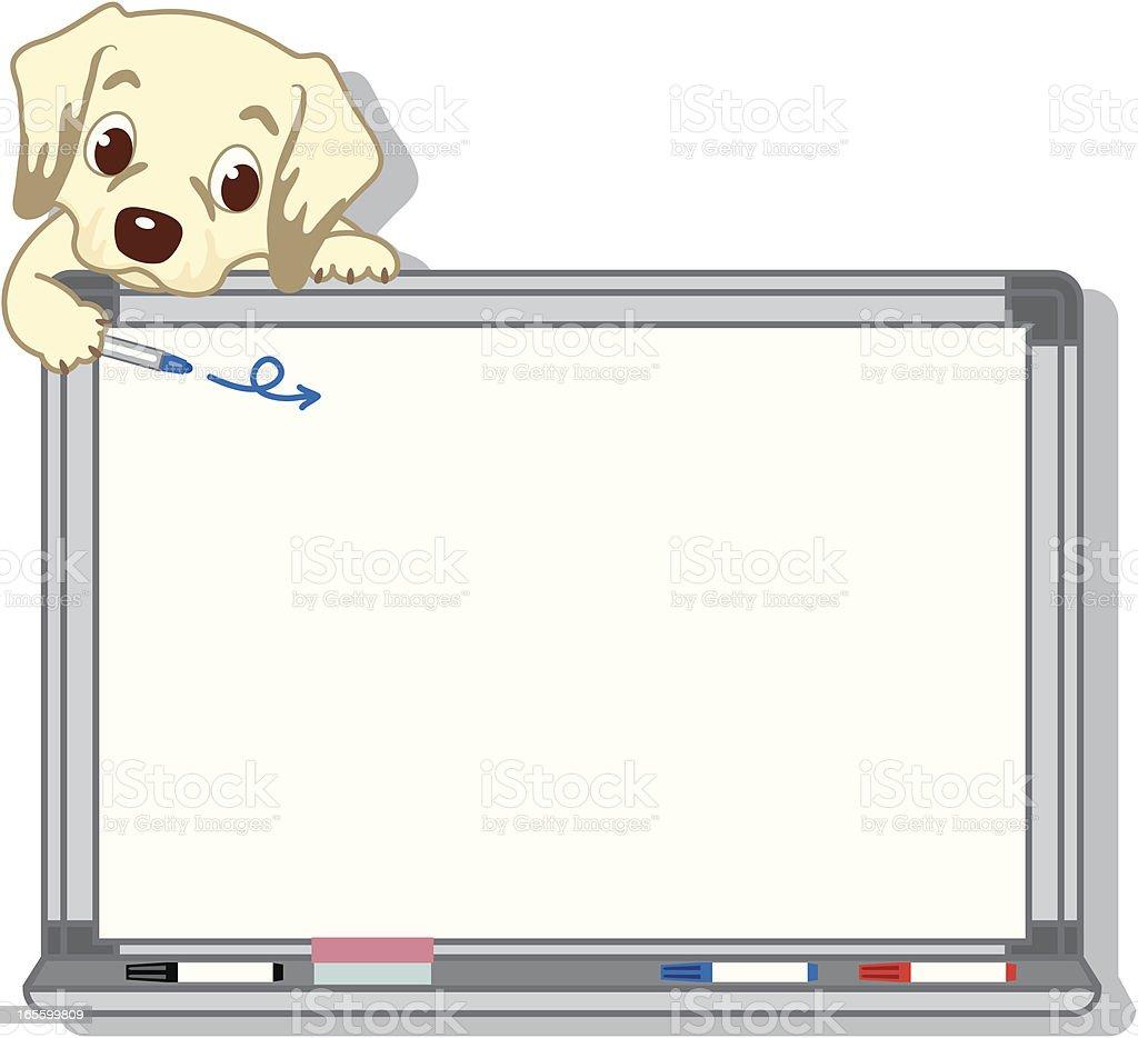 Retriever and  Whiteboard vector art illustration