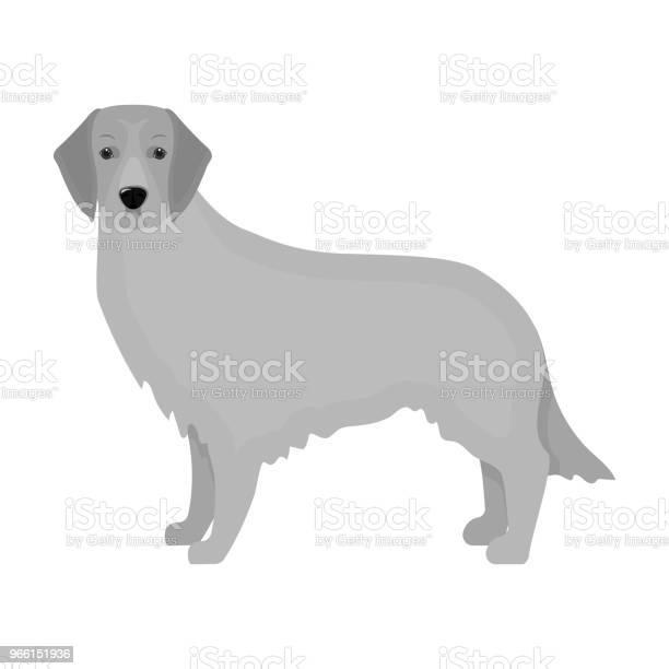 Retriever Single Icon In Monochrome Styleretriever Vector Symbol Stock Illustration Web - Arte vetorial de stock e mais imagens de Animal