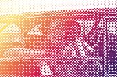 Halftone pattern illustration of Teenage girls dressed in vintage 50's clothes and driving vintage car. Pop art style.