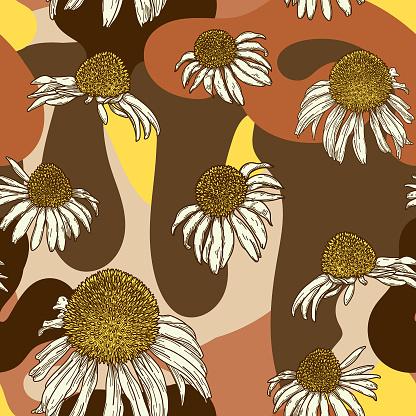 Retro 1960s Coneflower Seamless Pattern