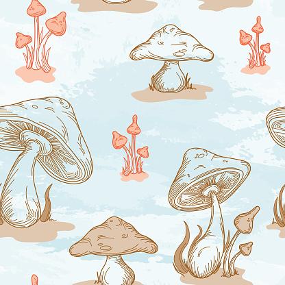 Retro 1970's Mushroom Seamless Pattern