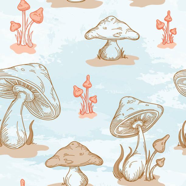 Retro 1970's Mushroom Seamless Pattern vector art illustration