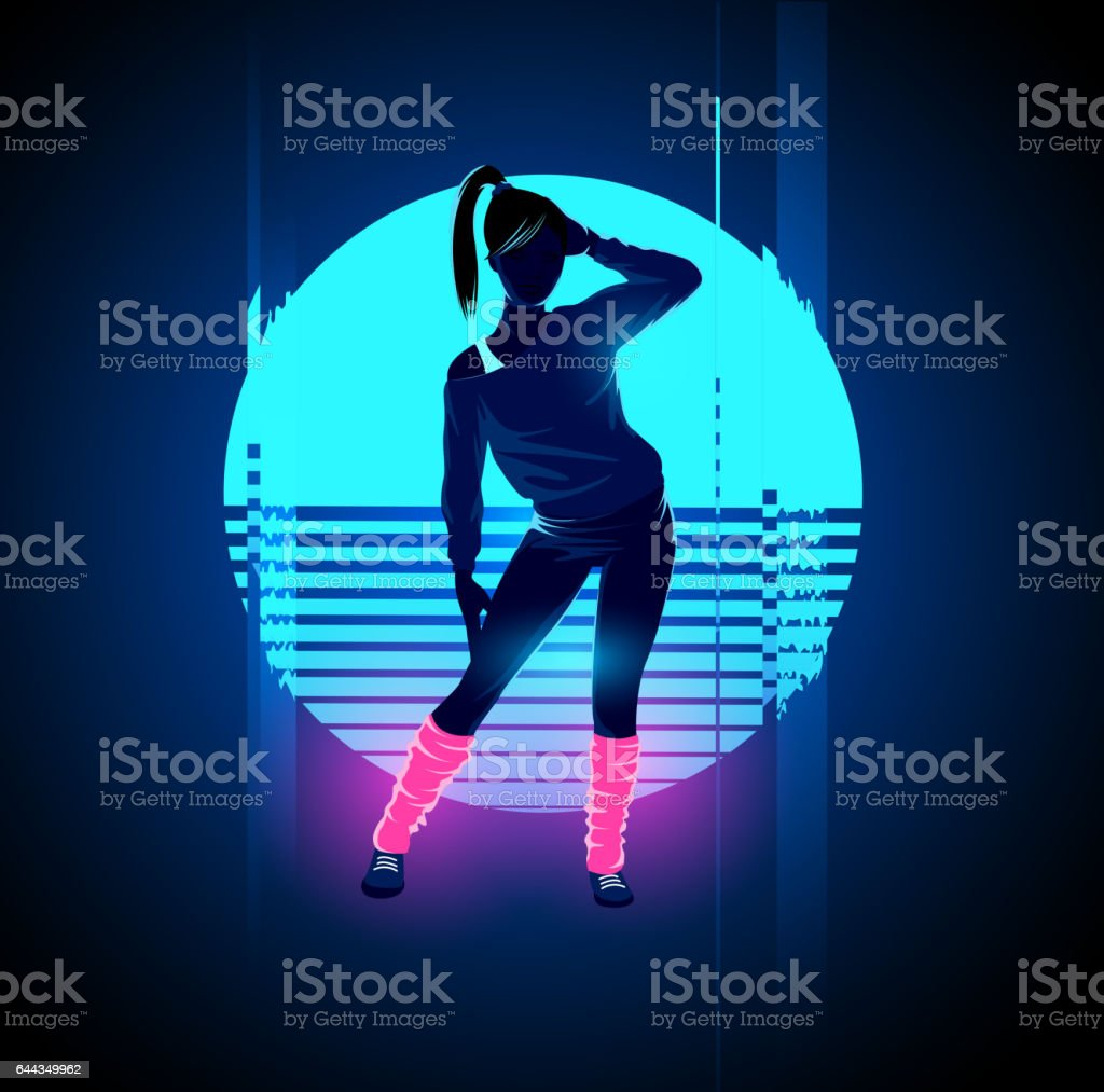 Retro 1980's Glitch Dancer vector art illustration