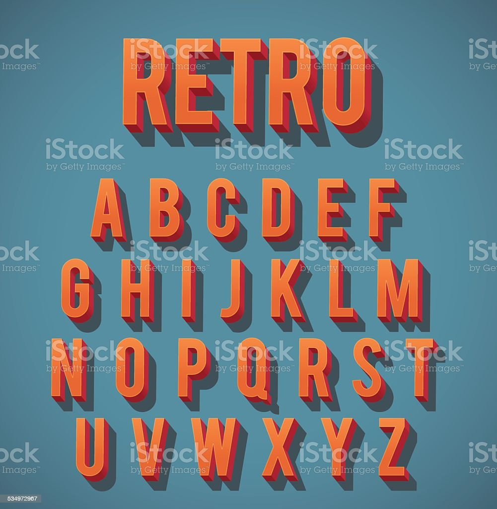 Retro 3D Alphabet Set vector art illustration