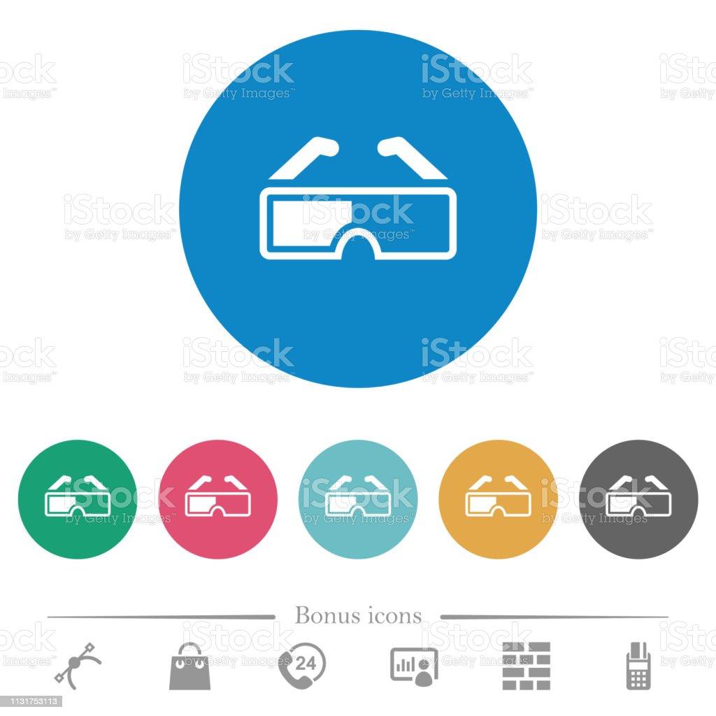 Ретро 3d очки плоские круглые иконки - Векторная графика Векторная графика роялти-фри