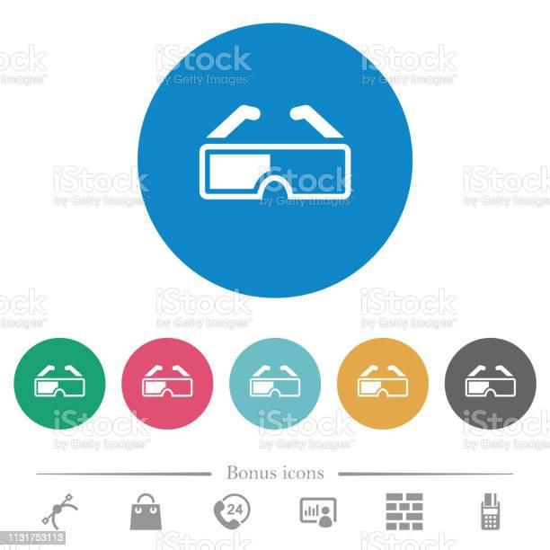 Ретро 3d Очки Плоские Круглые Иконки — стоковая векторная графика и другие изображения на тему Векторная графика