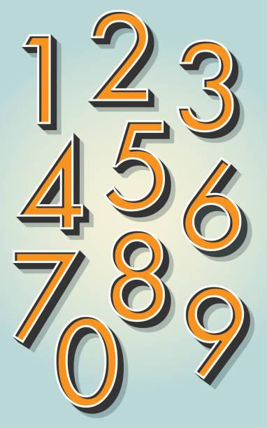 retro 3d numbers - dane finansowe stock illustrations