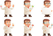 Retro 3d Scientist Young Cute Test-tube Set Icons Cartoon Design Character Vector Illustration