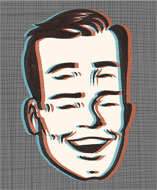 retro 4 eyes! in 3dddd - 1940s style stock illustrations