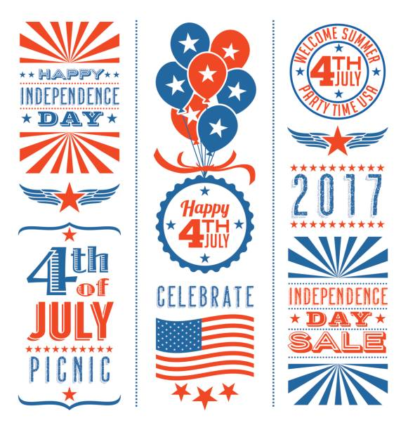 Retro 4th of July design elements for greeting cards, web page banners, posters vector art illustration