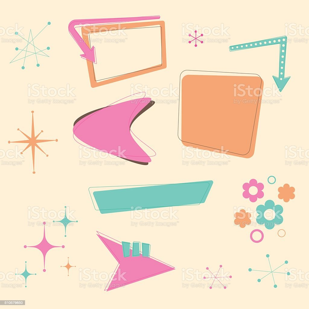 Retro 50s Design Elements vector art illustration