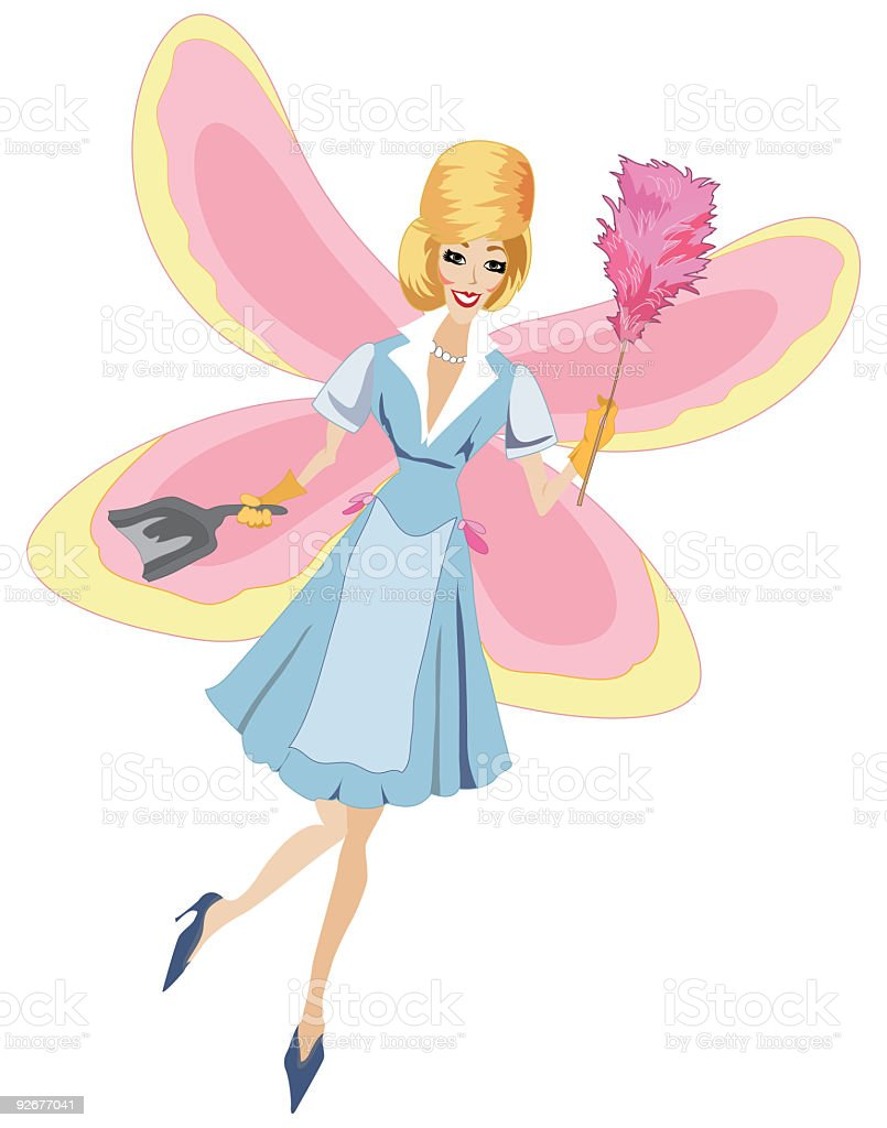 Retro 50's Style Housekeeping Cleaning Fairy Complete with Beehive Hairdo. vector art illustration