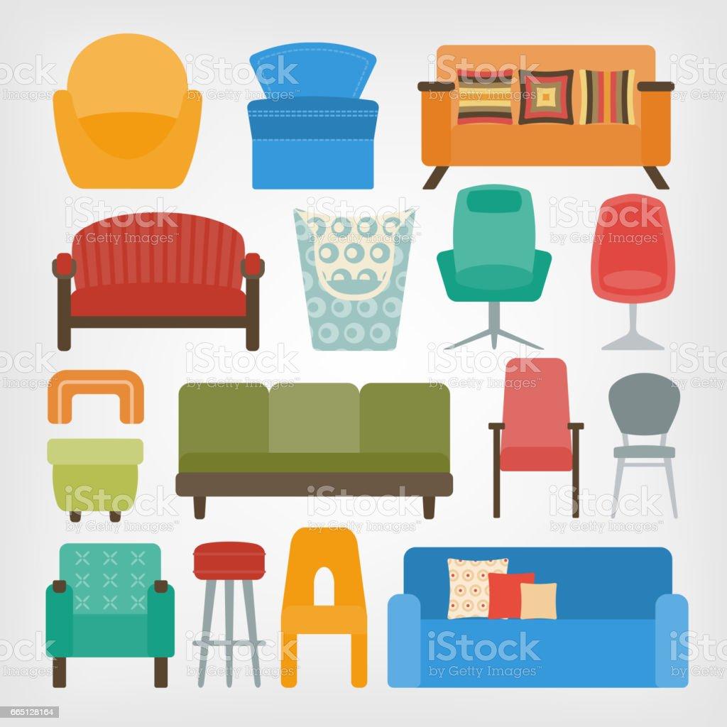 Retro 70er Jahre Möbelset Sessel Stühle Und Sofas Stock Vektor Art