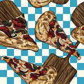 Get a slice of the Italian classic food, pizza, on a checkered retro tablecloth background in some retro 80s and 90s colours.