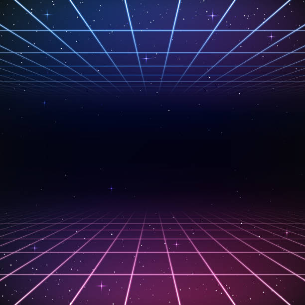 Retro 80s Background A retro 1980s style background, featuring glowing grid lines set against the stars and night sky. This is an ideal design element for your 80s themed party, poster or design project. All elements of this vector illustration are grouped onto clearly labelled layers within the EPS10 file making it easy for you to edit and customize to suit your needs. leisure games stock illustrations