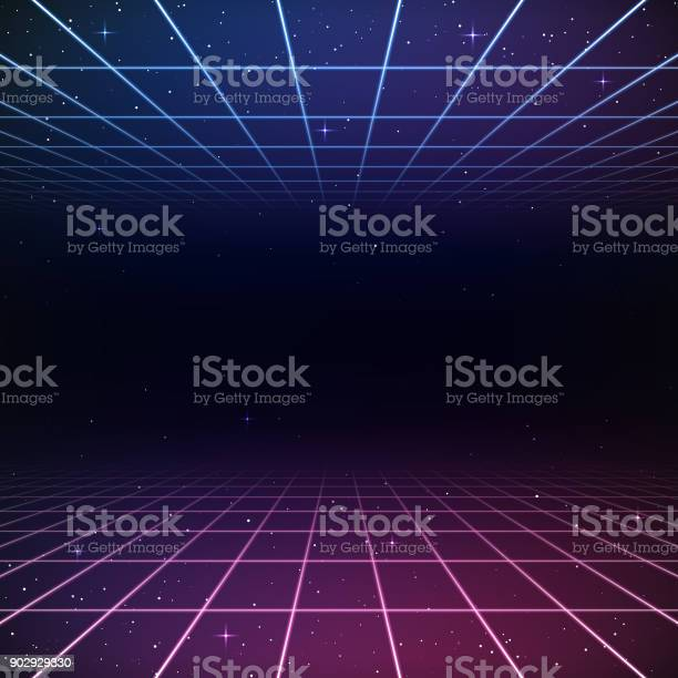 A retro 1980s style background, featuring glowing grid lines set against the stars and night sky. This is an ideal design element for your 80s themed party, poster or design project. All elements of this vector illustration are grouped onto clearly labelled layers within the EPS10 file making it easy for you to edit and customize to suit your needs.