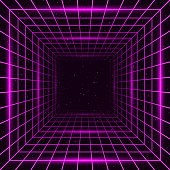 A retro-futuristic style background, emulating science fiction movies from the 1980s. This design features a three-dimensional square tunnel with glowing grid lines on all sides disappearing into space. With the current revival of 80s design styles, this is an ideal design element for your 80s themed party, poster or design project. All elements of this vector illustration are grouped onto clearly labelled layers within the EPS10 file making it easy for you to edit and customize to suit your needs.