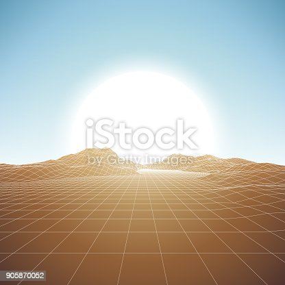 A retro 1980s style background, featuring grid lines leading up to a low-poly mountain in front of a brightly glowing sun. This is an ideal design element for your 80s themed party, poster or design project. All elements of this vector illustration are grouped onto clearly labelled layers within the EPS10 file making it easy for you to edit and customize to suit your needs.