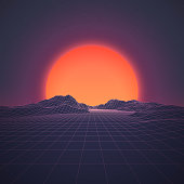 A retro 1980s style background, featuring grid lines leading up to a low-poly mountain range at either dawn or dusk. A brightly glowing sun looms just above the horizon line beneath the distant stars and night sky. This is an ideal design element for your 80s themed party, poster or design project. All elements of this vector illustration are grouped onto clearly labelled layers within the EPS10 file making it easy for you to edit and customize to suit your needs.