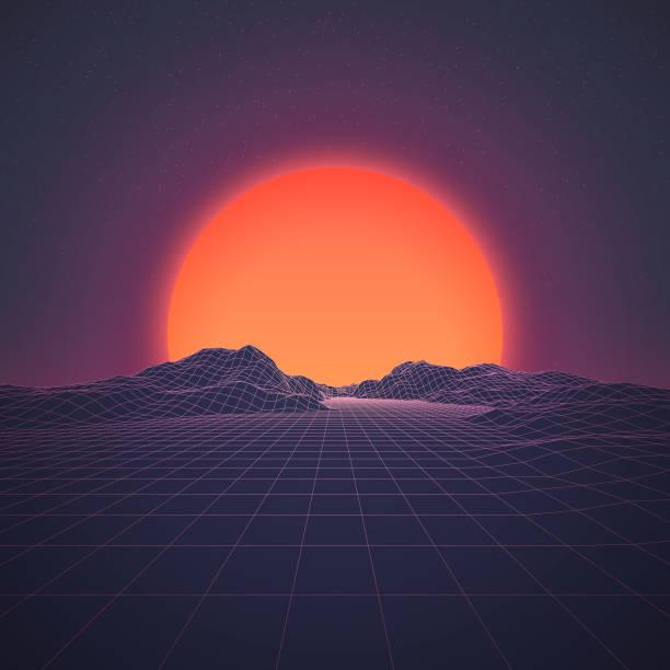 bildbanksillustrationer, clip art samt tecknat material och ikoner med retro 80s bakgrund - pink sunrise