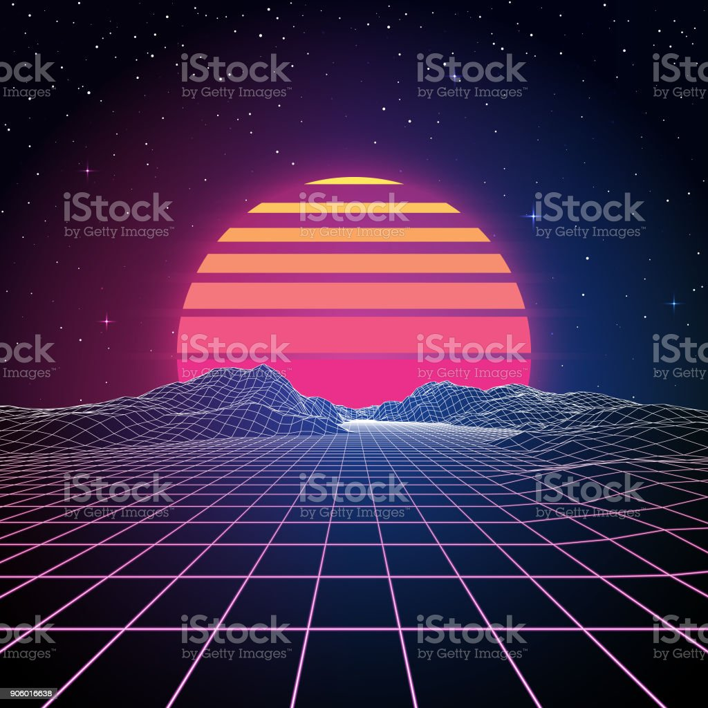 Retro 80s Background A retro 1980s style background with glowing grid lines leading towards low-poly mountains in the distance. A retro striped sun or planet looms just above the horizon line beneath the stars and night sky. This is an ideal design element for your 80s themed party, poster or design project. All elements of this vector illustration are grouped onto clearly labelled layers within the EPS10 file making it easy for you to edit and customize to suit your needs. 1980 stock vector
