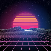 A retro 1980s style background with glowing grid lines leading towards low-poly mountains in the distance. A retro striped sun or planet looms just above the horizon line beneath the stars and night sky. This is an ideal design element for your 80s themed party, poster or design project. All elements of this vector illustration are grouped onto clearly labelled layers within the EPS10 file making it easy for you to edit and customize to suit your needs.