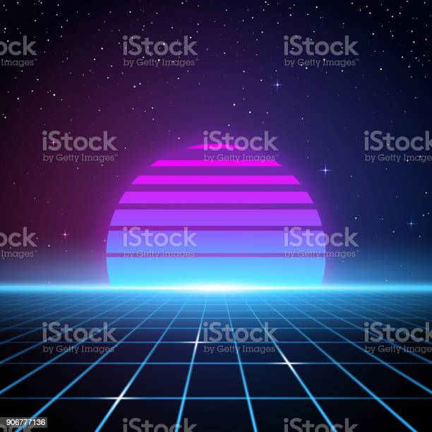 A retro-futuristic style background, emulating science fiction movies from the 1980s. Glowing grid lines flow up towards a retro striped sun or planet looming on the horizon beneath the stars and night sky. With the current revival of 80s design styles, this is an ideal design element for your 80s themed party, poster or design project. All elements of this vector illustration are grouped onto clearly labelled layers within the EPS10 file making it easy for you to edit and customize to suit your needs.