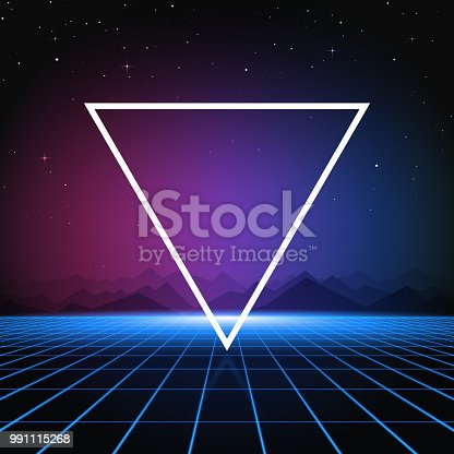 A retro-futuristic style background, emulating science fiction movies from the 1980s. With the current revival of 80s design styles, this is an ideal design element for your 80s themed party, poster or design project. All elements of this vector illustration are grouped onto clearly labelled layers within the EPS10 file making it easy for you to edit and customize to suit your needs.
